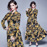 Versace Popular Women Retro Print Long Sleeve Lapel Dress