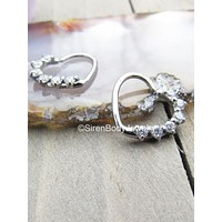 """Heart daith seam ring 16g 3/8"""" 316L Stainless Steel 6 clear prong set gemstones easy bend earring"""