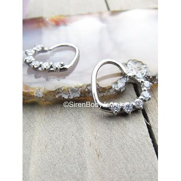 "Heart daith seam ring 16g 3/8"" 316L Stainless Steel 6 clear prong set gemstones easy bend earring"