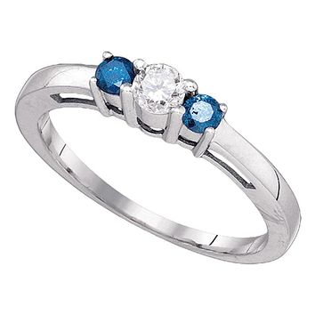 10k White Gold Round Blue Diamond 3-stone Bridal Engagement Ring 3/8 Cttw
