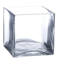 """5"""" Square Glass Vase - 5 Inch Clear Cube Centerpiece - 5x5x5 Candleholder"""
