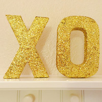 XO Glitter Letter Set, xo Glitter Letters, xo Gift, xo Gossip Girl, xo Dorm Decoration, xo Decor, xo Decor, Gold Glitter Xo, Gold XOXO, XO