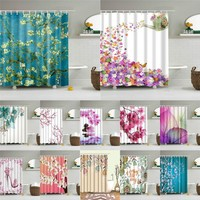 Flowers Poster Shower Curtains Waterproof Polyester Fabric Bath Screen Curtain for Home Decoration Bathroom Curtain