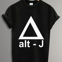 New - ALT J Triangle Band Tee Shirt Black and White For Men and Women Unisex Size - Code A