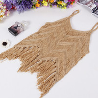P82 Korean new spring summer 2016 women's knit tops sexy blouse hollow fringed vest Camisole Crop top  Crochet Top