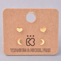 Dainty Heart and Moon Stud Earrings Set - Gold, Silver or Rose Gold