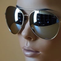 NEW OVERSIZED TRENDY VINTAGE POLICE COP PILOT AVIATOR STYLE CHROME SUN GLASSES