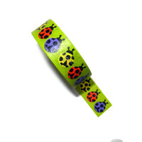 Red, Yellow and Purple Lady Bug Washi Tape with Green Background