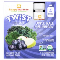 Happy Squeeze Twist Organic Apple Kale & Blueberry Pouches - 12.68oz