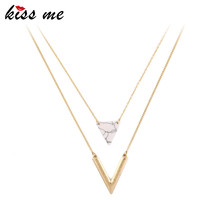 KISS ME Alloy Artificial Marble Triangle Pendant Necklace 2016 New Summer Jewelry Alloy Layered Necklace