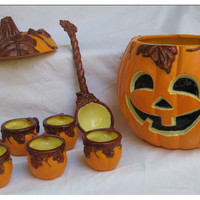 Halloween Party Jack O' Lantern pumpkin punch bowl with cups and laddle OOAK ceramic custom
