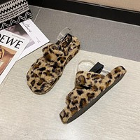 Fluffy Women's Sandals Outdoor Flat Plush Fur Women Slippers Sandals With Rubber Soles Non-slip Indoor Slippers For Home Use