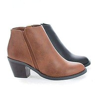 TevayIIH by Soda, Children's Girl Round Toe Chelsea Stacked Heel Ankle Boots