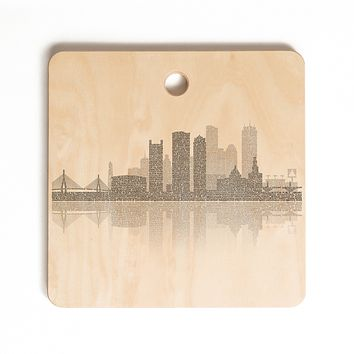 Restudio Designs Boston Skyline Reflection Cutting Board Square