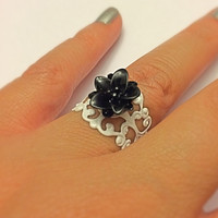 Black Lotus Filigree White Ring Floral Adjustable Statement Ring