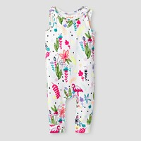 Baby Girls' Long Drop Crotch Romper - Baby Cat & Jack™ White