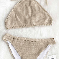 Cupshe Coffe Cream Knitting Bikini Set