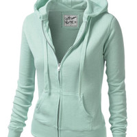 Solid Zipper Long Sleeve Hoodie Jacket
