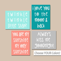 GIRL QUOTE Wall Art, CANVAS or Prints, Baby Girl Nursery Song Rhyme, Twinkle Little Star, Sunshine, Kiss Me Goodnight, Moon & Back, Set of 4