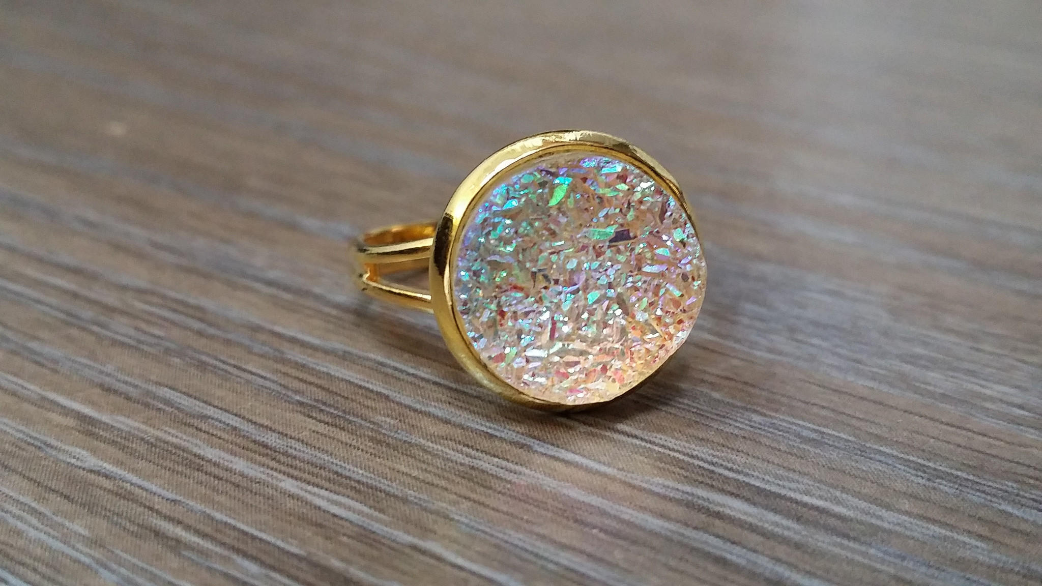 Image of Druzy Ring- Rainbow clear drusy Gold tone druzy ring