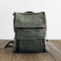 olive Handmade Leather Canvas Backpack, Canvas Backpacks ,Student Canvas Backpack Leisure Packs