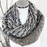 Men knitting scarves, Scarves earth colors, Infinity Men's Scarf, Men's Scarf handmade, Unique Christmas gifts, Winter scarf Unisex