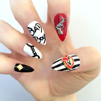 Doobys Stiletto - Like A Boss- 20 Hand Painted Stiletto Nails