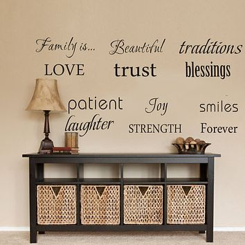 LUCKKYY Family Wall Decal~ Set of 12 Family Words Quote Vinyl Family Wall Decal Family Room Art Decoration Living Room Decor Decoration for Home Decor (Black) Black
