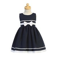 Navy Blue & White Trim Linen Blend Girls Easter Dress 6M-7