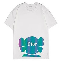 Dior 2019 new colorful reflective printing men and women's round neck T-shirt white