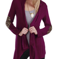 Burgundy Sequined Cardigan