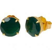 Green Onyx Stud Earrings - Bounkit - Designers | 30PonteV.com