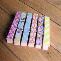 Decorative Clothespin Variety Set, 6 pieces (pushpin option) / Office Organization / Teacher Gift / Dorm Decor / Bulletin Board