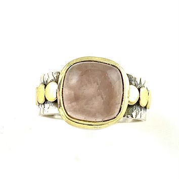 Rose Quartz Sterling Silver Two Tone Ring
