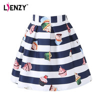 LIENZY 2016 Summer Striped Women Lolita Skirt White Blue Fringe Cake Print Women Short Pleated Skirt Real Photo