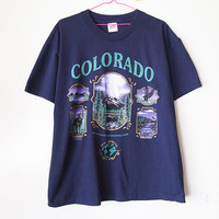 Vintage 90s COLORADO Shirt Rocky Mountains 1990s Tshirt Navy Blue Novelty Hipster Unisex Large