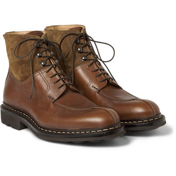 Heschung - Ginko Leather and Suede Lace-Up Boots | MR PORTER