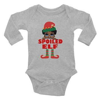 Spoiled Elf Infant Baby Boy with Pacifier Onesuit Bodysuit African American Family Christmas Long Sleeve