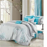 Floral Grey 8-Piece Comforter Set by Luxury Bedding Co. - 8-Piece Sets - Polyester - Microfiber