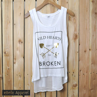 Wild Hearts Can't Be Broken - Women's Flowy High Low White, Graphic Foil Print Tank Top