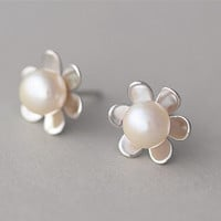 Sterling Silver Pearl Earring, Pearl Ear Studs, Teenage, Valentine, Bridemaid, Bridal, Wedding, Gift
