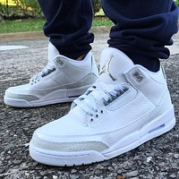 Nike Air Jordan 3 Retro Triple White Basketball Shoes Sneakers