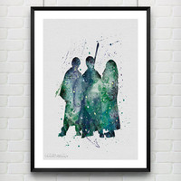 Harry Potter Poster, Ronald Weasley, Hermione Granger Watercolor Poster, Kids Room Wall Art Print, Not Framed, Buy 2 Get 1 Free! [No. 57-1]