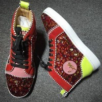 DCCK2 Cl Christian Louboutin Rhinestone Style #1952 Sneakers Fashion Shoes
