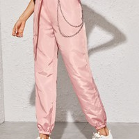 Push Buckle Belted Chain Detail Wind Pants