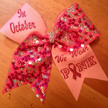 Pink cheer bow , breast cancer awearness cheer bow , cheer bow , cheerbow , chealeader , breast cancer bow