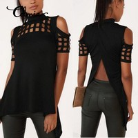 Summer Sexy Backless Hollow Out Sexy Blouse Women Cold Shoulder Short Sleeve Turtleneck Shirts Irregular Top Blusas Plus Size