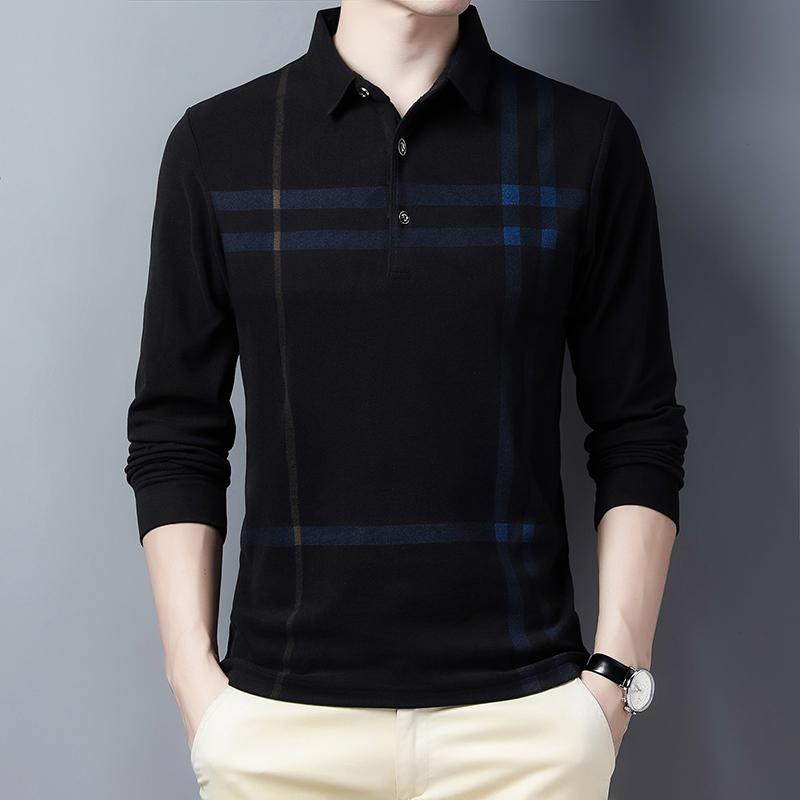 Image of Warm Polo Shirts Men Thick Long Sleeve Tee Shirt Homme Slim Fit Camisa Polo Men Clothing