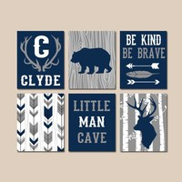 WOODLAND NURSERY Wall Art, Baby Boy Tribal Decor, Arrows Deer Bear Antlers, Little Man Cave, Be Brave Kind Canvas or Prints Set of 6