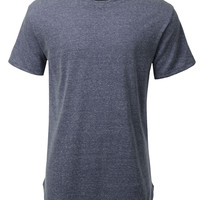 LE3NO Mens Hipster Hip Hop Heathered Longline Short Sleeve T Shirt (CLEARANCE)